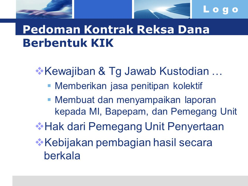 Pedoman Kontrak Reksa Dana Berbentuk KIK