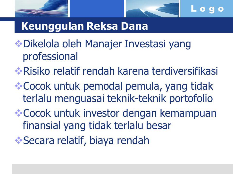 Keunggulan Reksa Dana Dikelola oleh Manajer Investasi yang professional. Risiko relatif rendah karena terdiversifikasi.