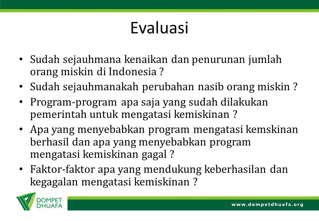 Evaluasi Sudah sejauhmana kenaikan dan penurunan jumlah orang miskin di Indonesia Sudah sejauhmanakah perubahan nasib orang miskin