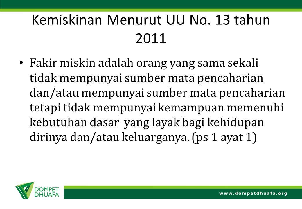 Kemiskinan Menurut UU No. 13 tahun 2011