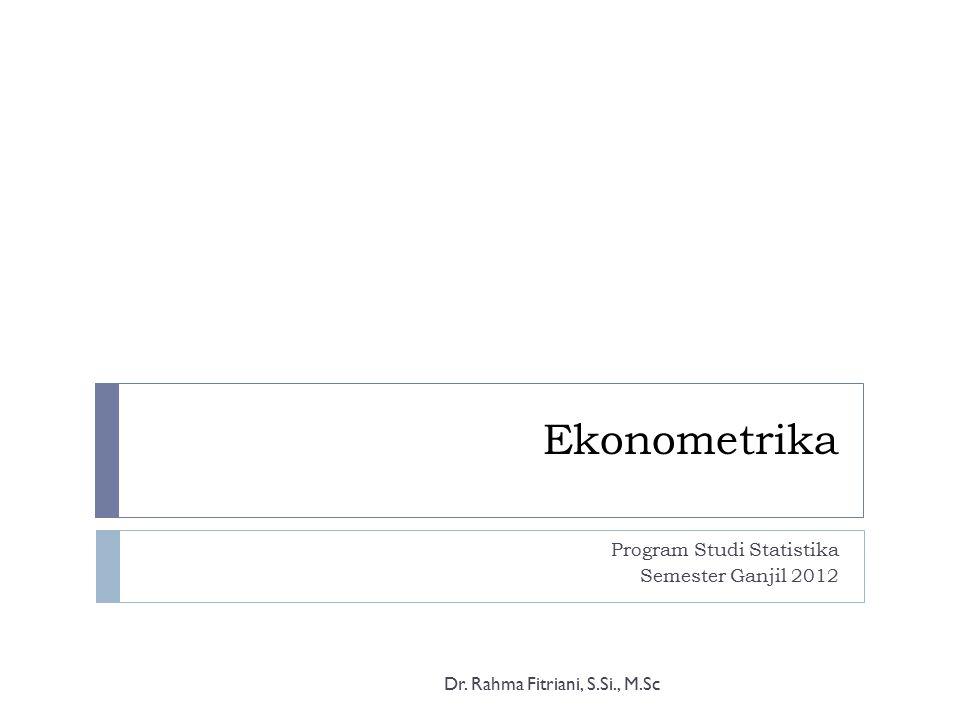 Program Studi Statistika Semester Ganjil 2012