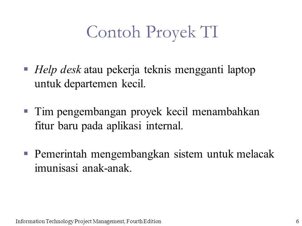 Contoh Proyek TI Help desk atau pekerja teknis mengganti laptop untuk departemen kecil.