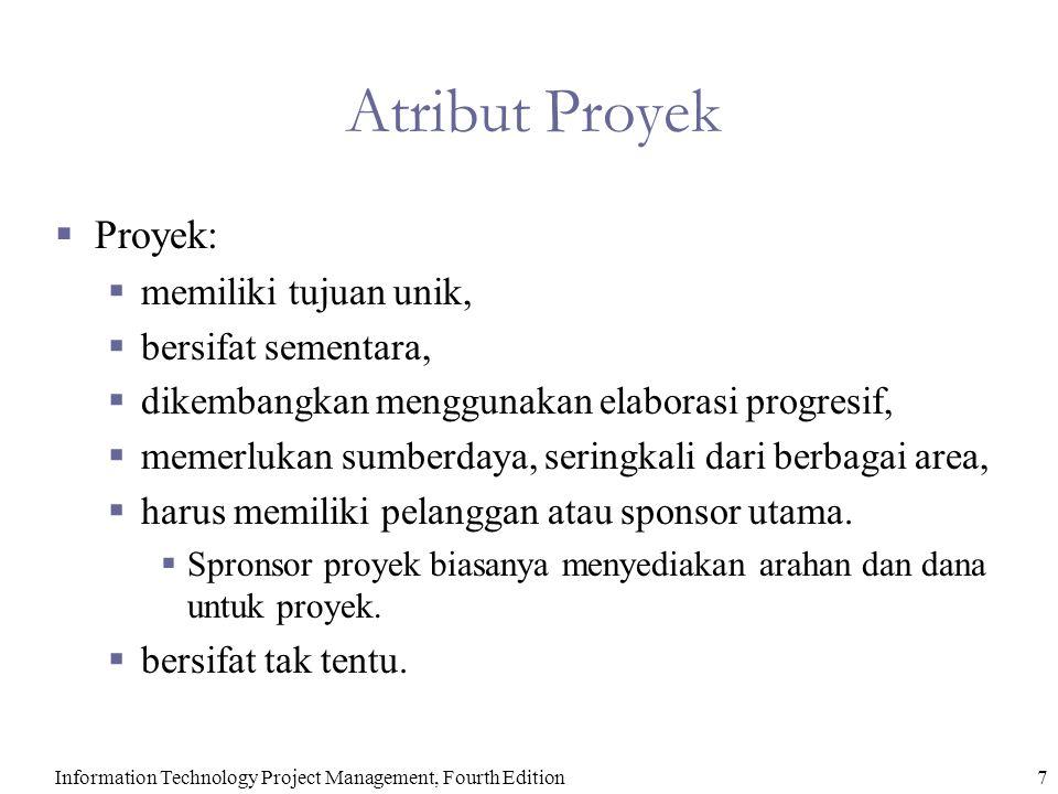 Atribut Proyek Proyek: memiliki tujuan unik, bersifat sementara,