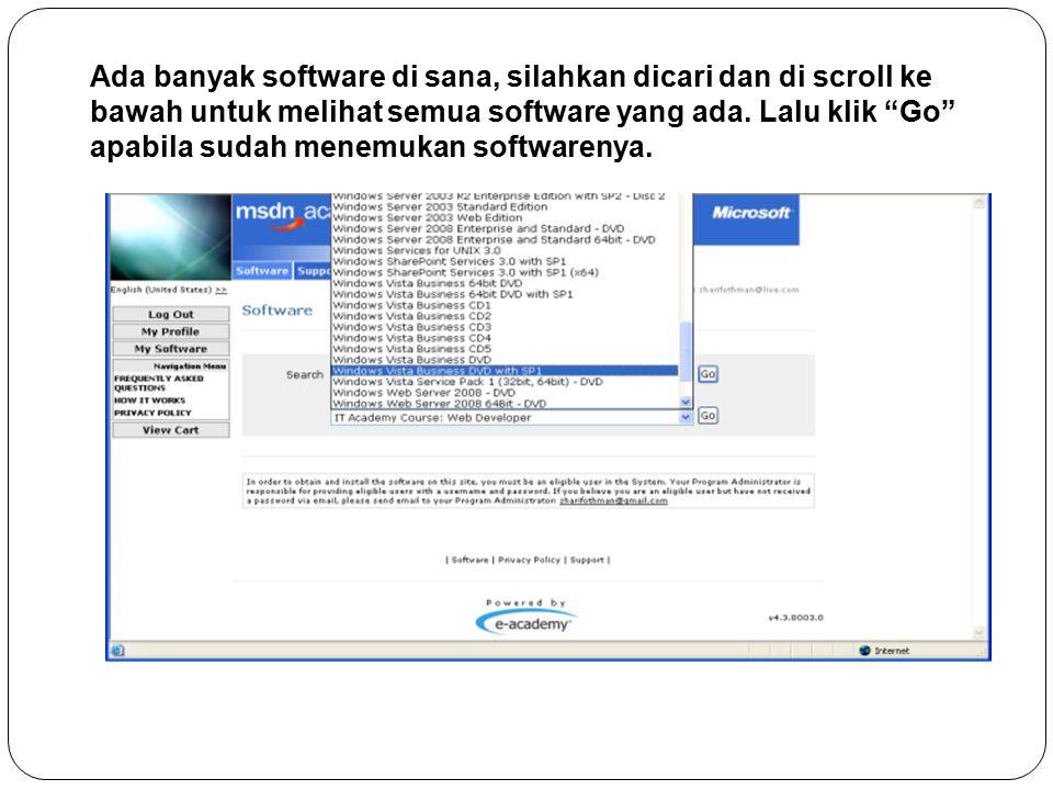 Ada banyak software di sana, silahkan dicari dan di scroll ke bawah untuk melihat semua software yang ada.