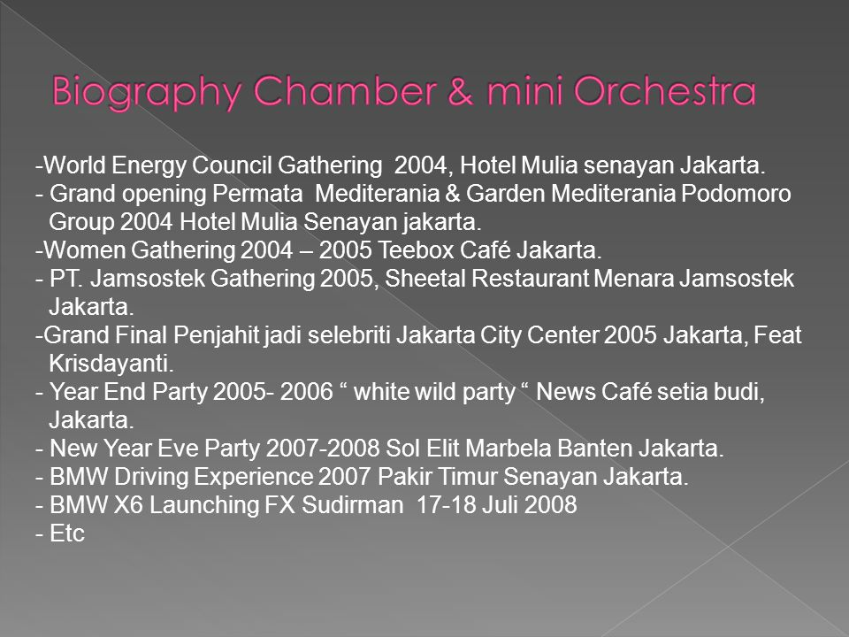 Biography Chamber & mini Orchestra