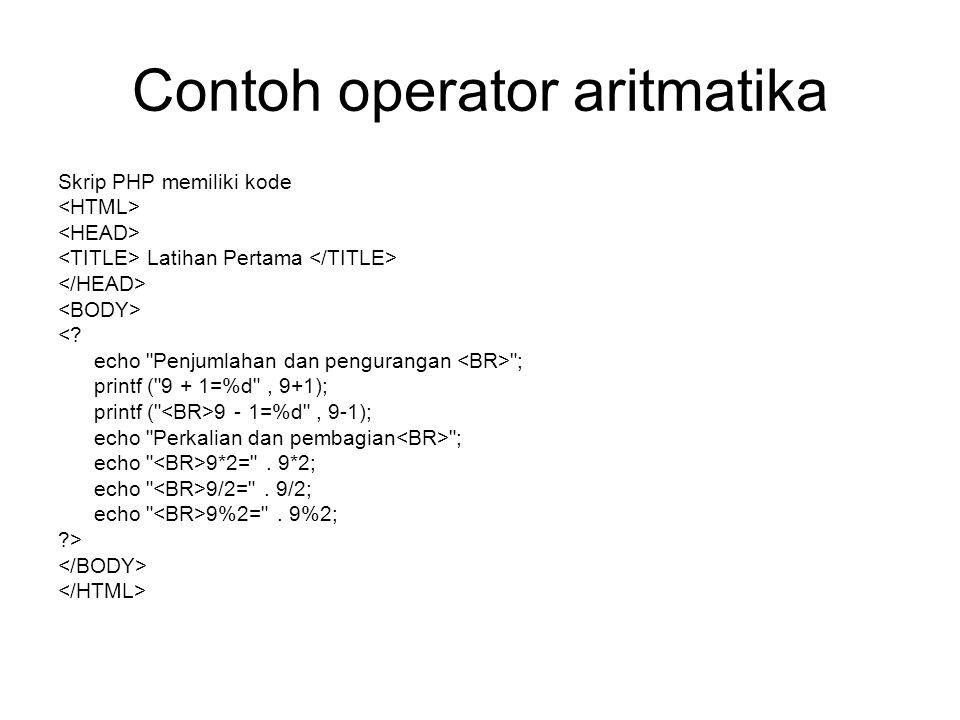 Contoh operator aritmatika