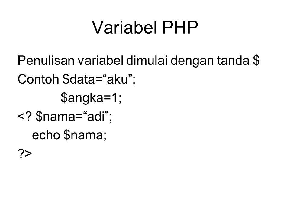 Variabel PHP Penulisan variabel dimulai dengan tanda $