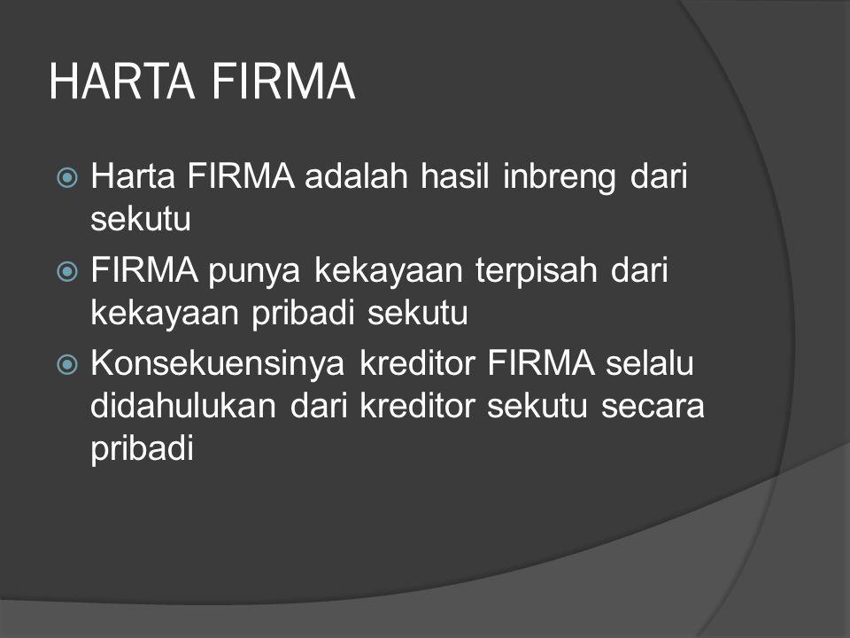 HARTA FIRMA Harta FIRMA adalah hasil inbreng dari sekutu