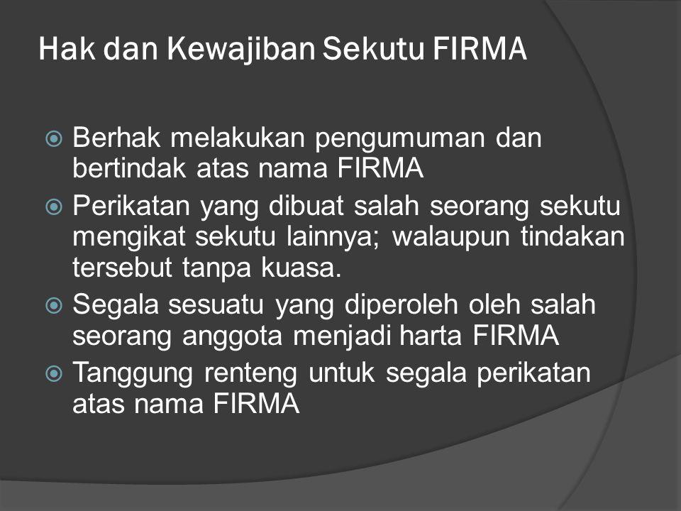 Hak dan Kewajiban Sekutu FIRMA