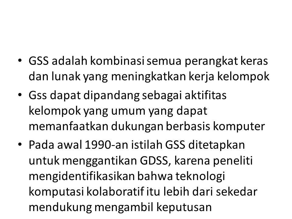 GSS adalah kombinasi semua perangkat keras dan lunak yang meningkatkan kerja kelompok
