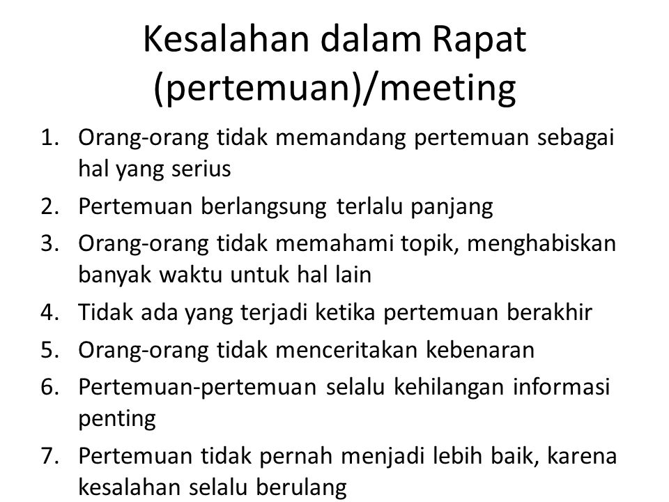 Kesalahan dalam Rapat (pertemuan)/meeting
