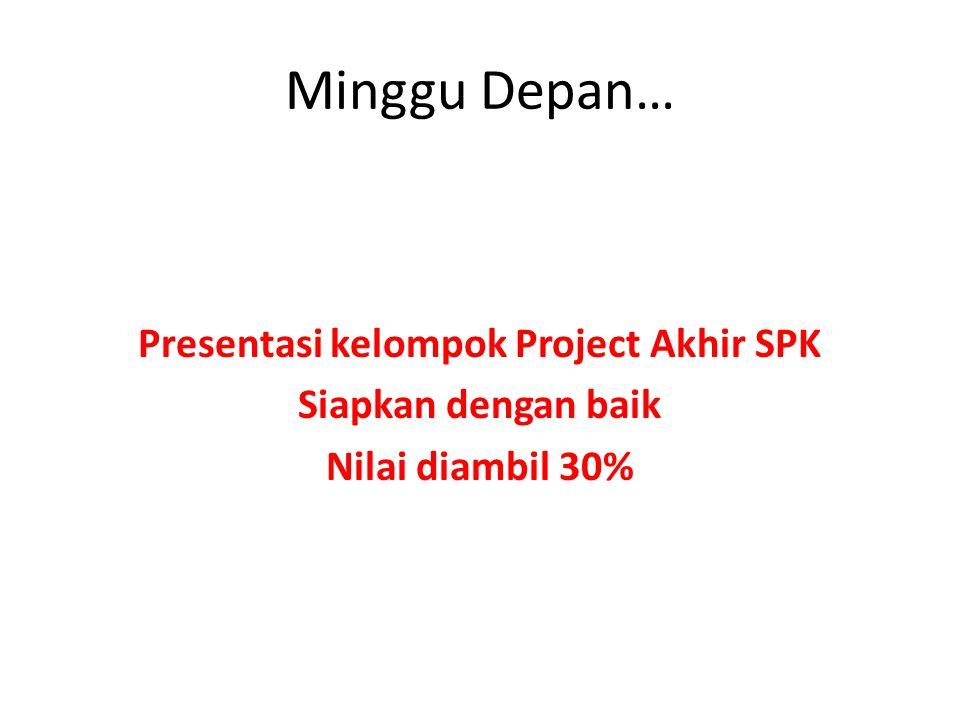Minggu Depan… Presentasi kelompok Project Akhir SPK Siapkan dengan baik Nilai diambil 30%