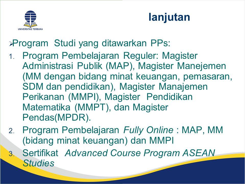 lanjutan Program Studi yang ditawarkan PPs: