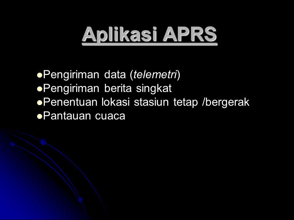Aplikasi APRS Pengiriman data (telemetri) Pengiriman berita singkat