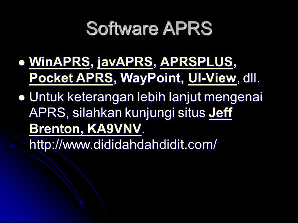 Software APRS WinAPRS, javAPRS, APRSPLUS, Pocket APRS, WayPoint, UI-View, dll.