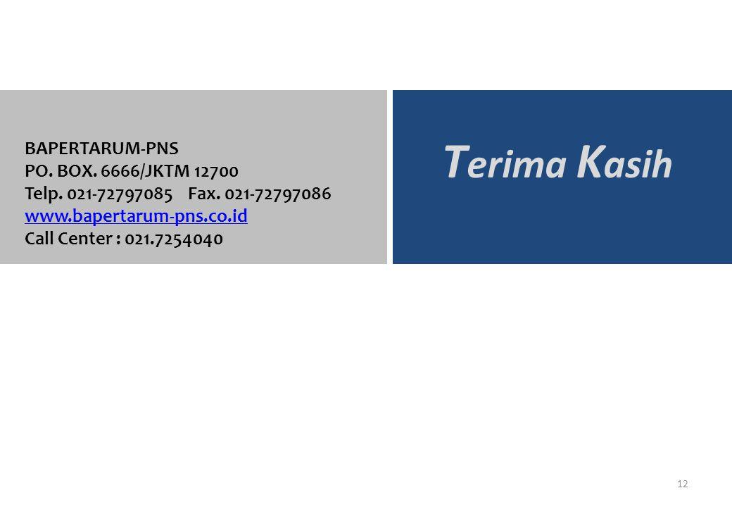 Terima Kasih BAPERTARUM-PNS PO. BOX. 6666/JKTM 12700