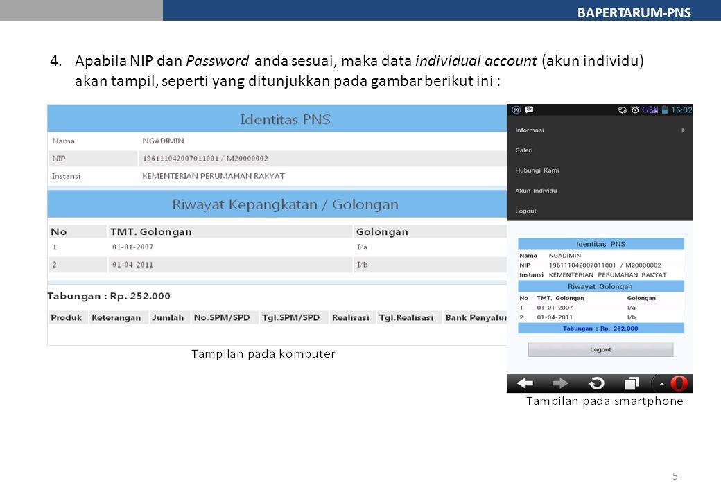 Apabila NIP dan Password anda sesuai, maka data individual account (akun individu) akan tampil, seperti yang ditunjukkan pada gambar berikut ini :