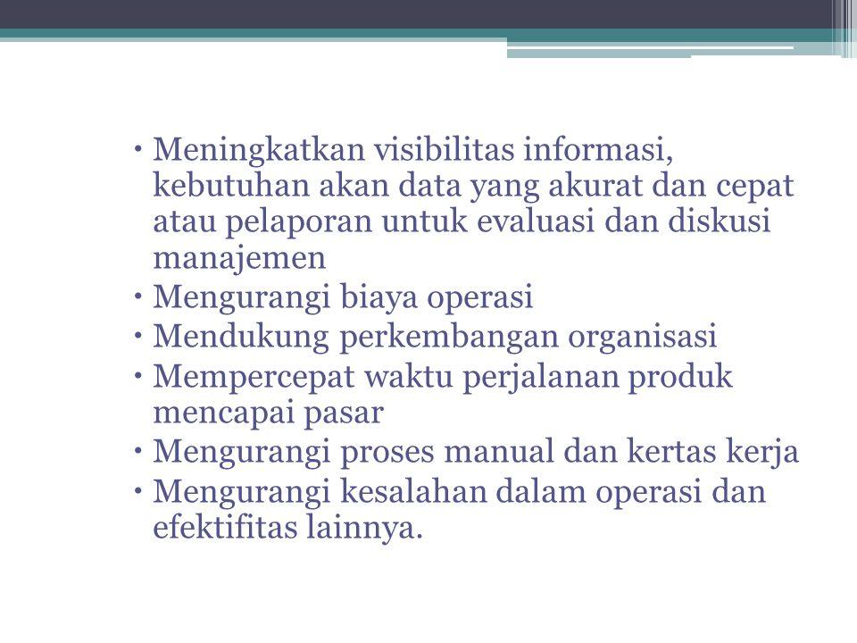 Meningkatkan visibilitas informasi, kebutuhan akan data yang akurat dan cepat atau pelaporan untuk evaluasi dan diskusi manajemen