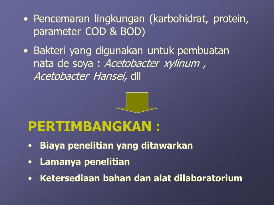 Pencemaran lingkungan (karbohidrat, protein, parameter COD & BOD)