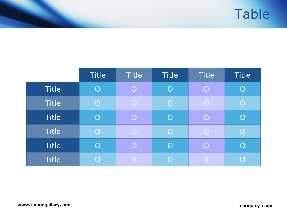 Table Title O X www.themegallery.com Company Logo