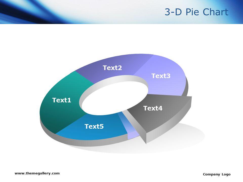 3-D Pie Chart Text2 Text3 Text1 Text4 Text5 www.themegallery.com