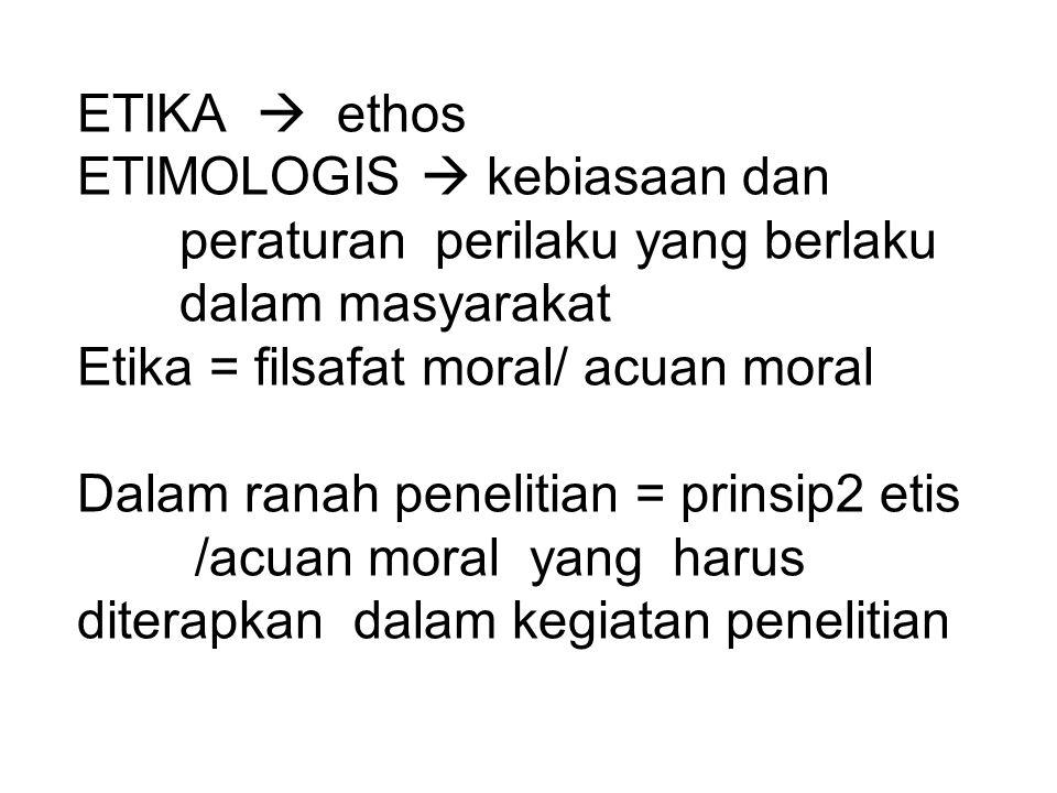 ETIKA  ethos ETIMOLOGIS  kebiasaan dan. peraturan perilaku yang berlaku. dalam masyarakat. Etika = filsafat moral/ acuan moral.