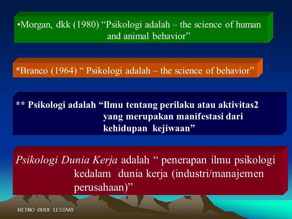 Psikologi Dunia Kerja adalah penerapan ilmu psikologi