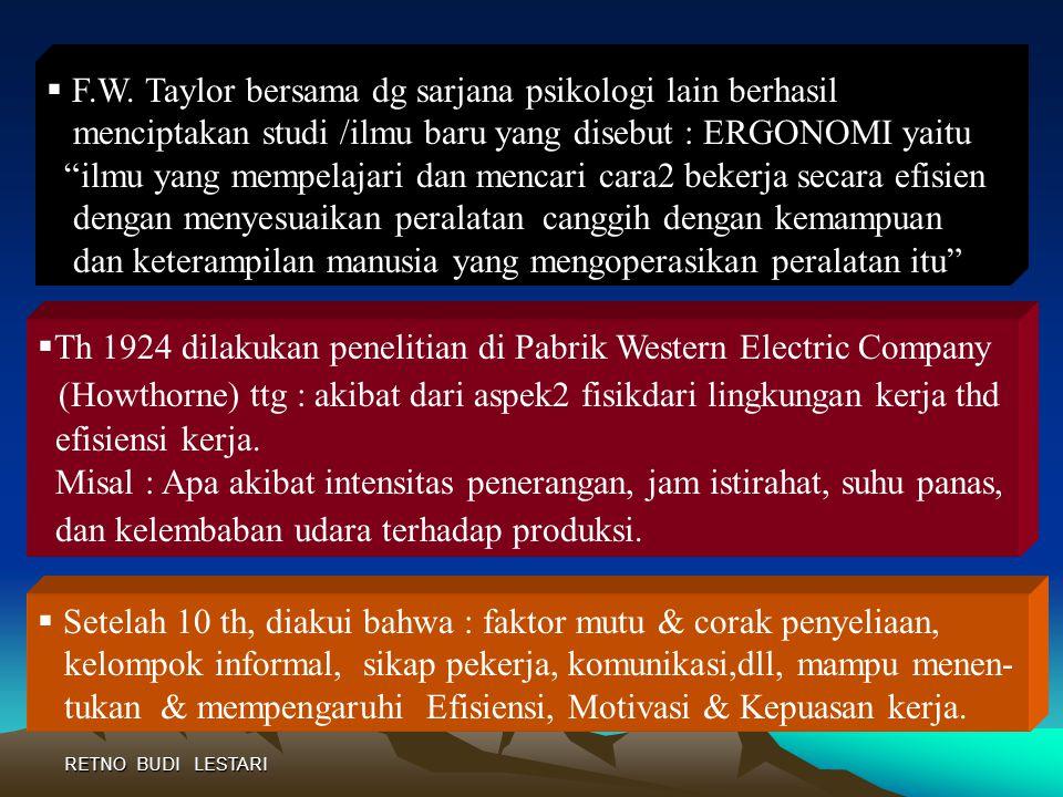 (Howthorne) ttg : akibat dari aspek2 fisikdari lingkungan kerja thd