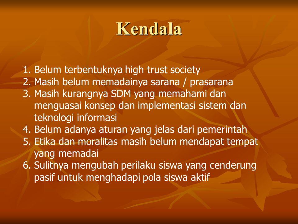 Kendala Belum terbentuknya high trust society