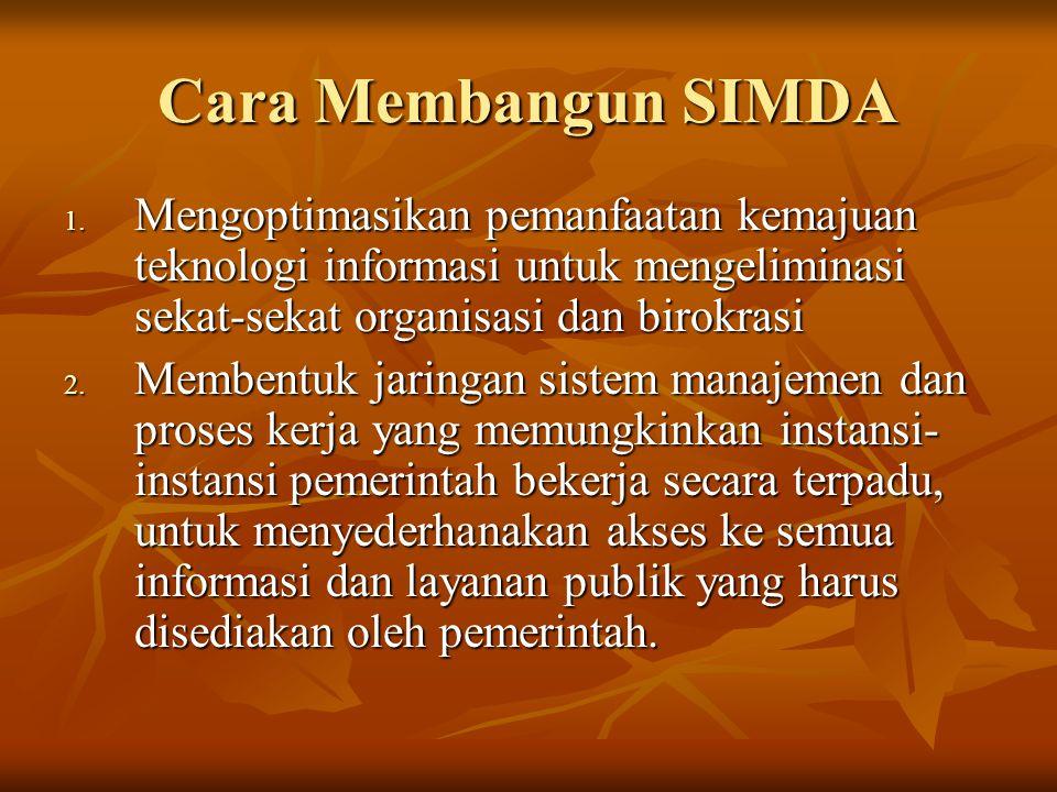 Cara Membangun SIMDA Mengoptimasikan pemanfaatan kemajuan teknologi informasi untuk mengeliminasi sekat-sekat organisasi dan birokrasi.