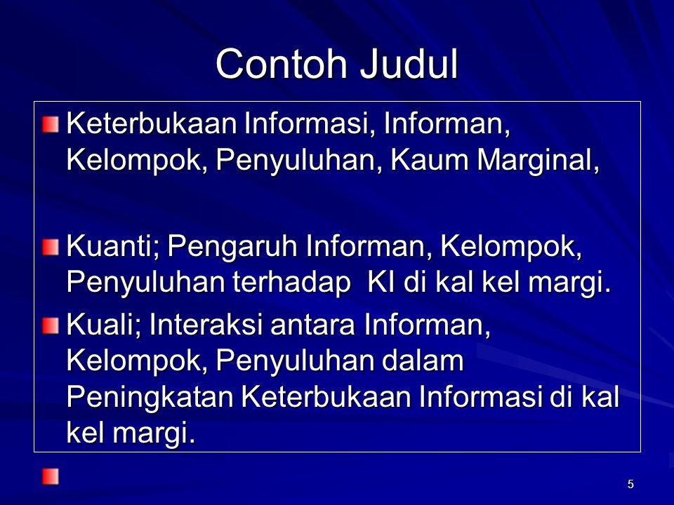 Contoh Judul Keterbukaan Informasi, Informan, Kelompok, Penyuluhan, Kaum Marginal,