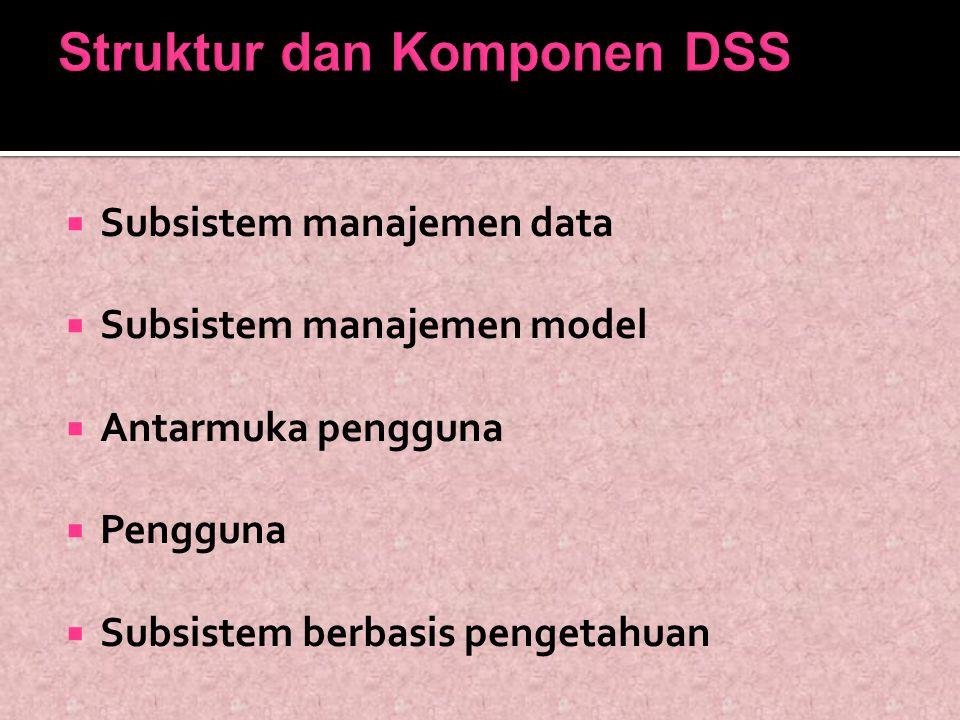 Struktur dan Komponen DSS