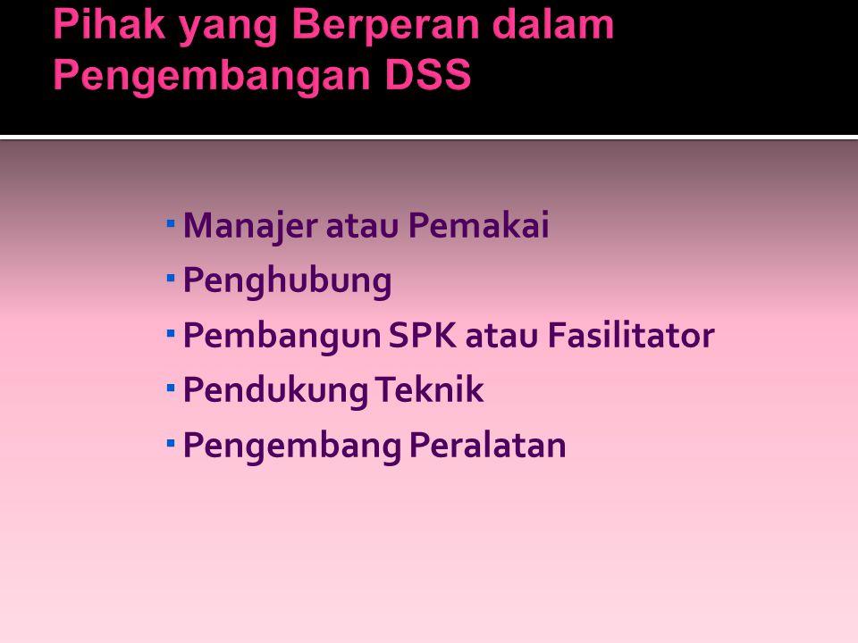 Pihak yang Berperan dalam Pengembangan DSS