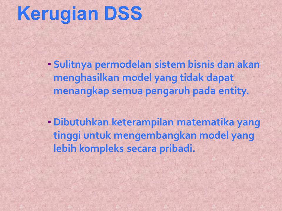 Kerugian DSS Sulitnya permodelan sistem bisnis dan akan menghasilkan model yang tidak dapat menangkap semua pengaruh pada entity.