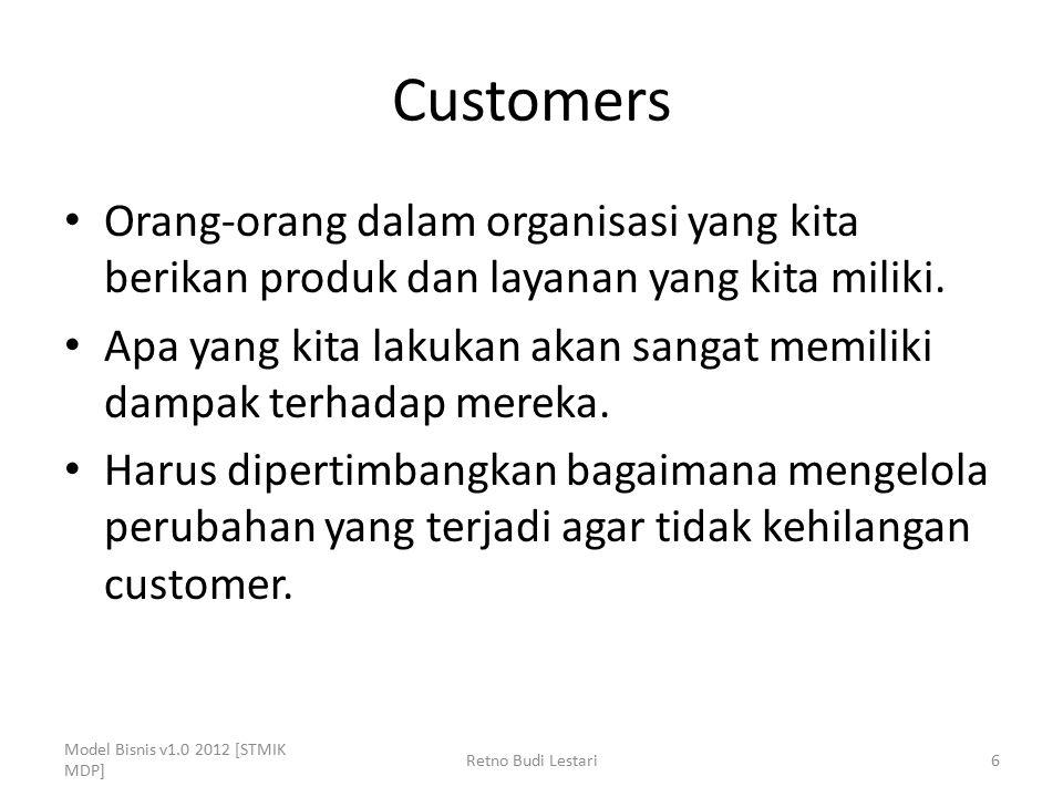 Customers Orang-orang dalam organisasi yang kita berikan produk dan layanan yang kita miliki.