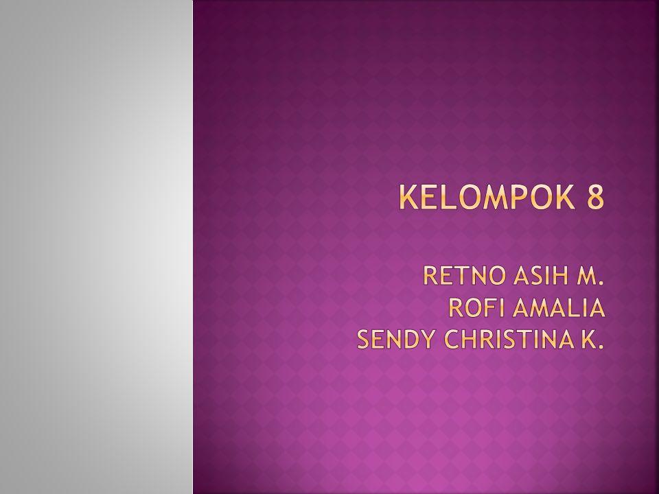 KELOMPOK 8 RETNO ASIH m. ROFI AMALIA SENDY CHRISTINA K.