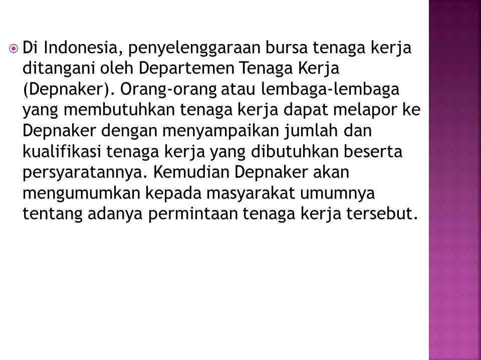 Di Indonesia, penyelenggaraan bursa tenaga kerja ditangani oleh Departemen Tenaga Kerja (Depnaker).