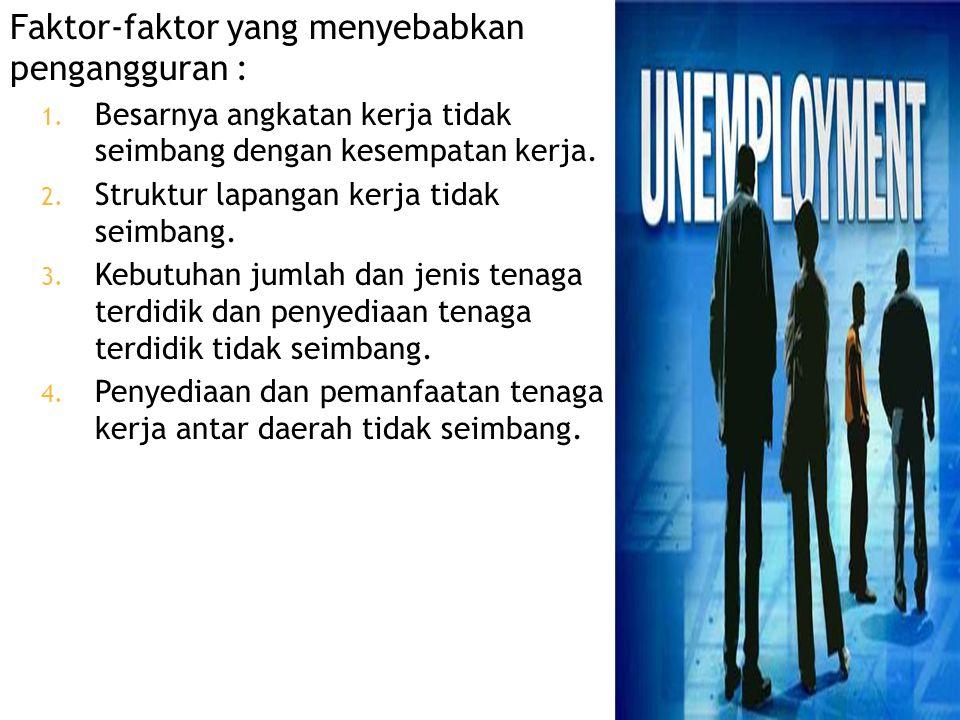 Faktor-faktor yang menyebabkan pengangguran :