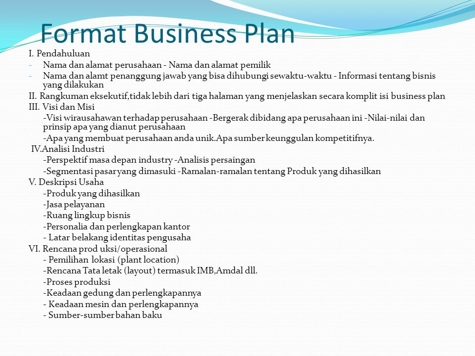 Format Business Plan I. Pendahuluan