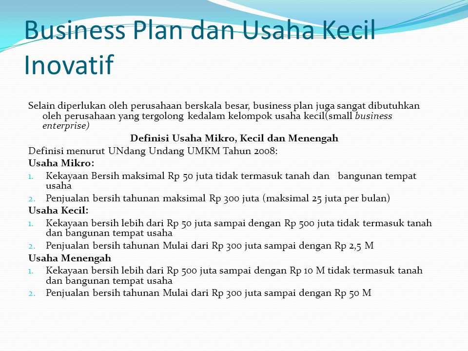Business Plan dan Usaha Kecil Inovatif