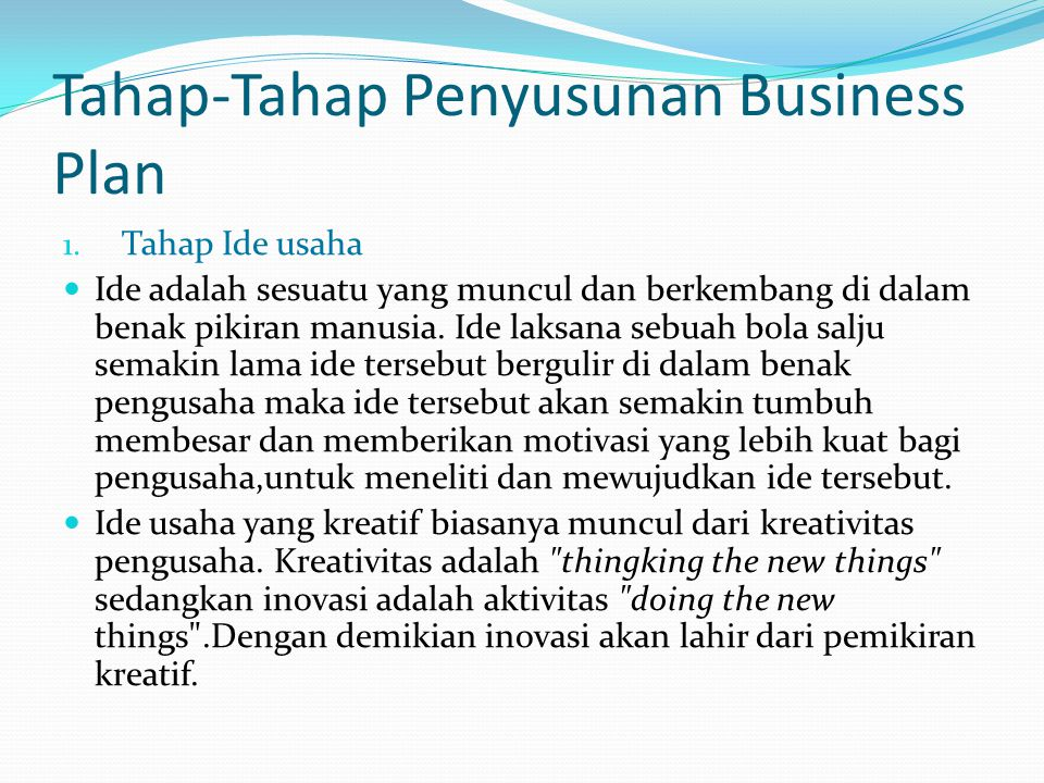 Tahap-Tahap Penyusunan Business Plan