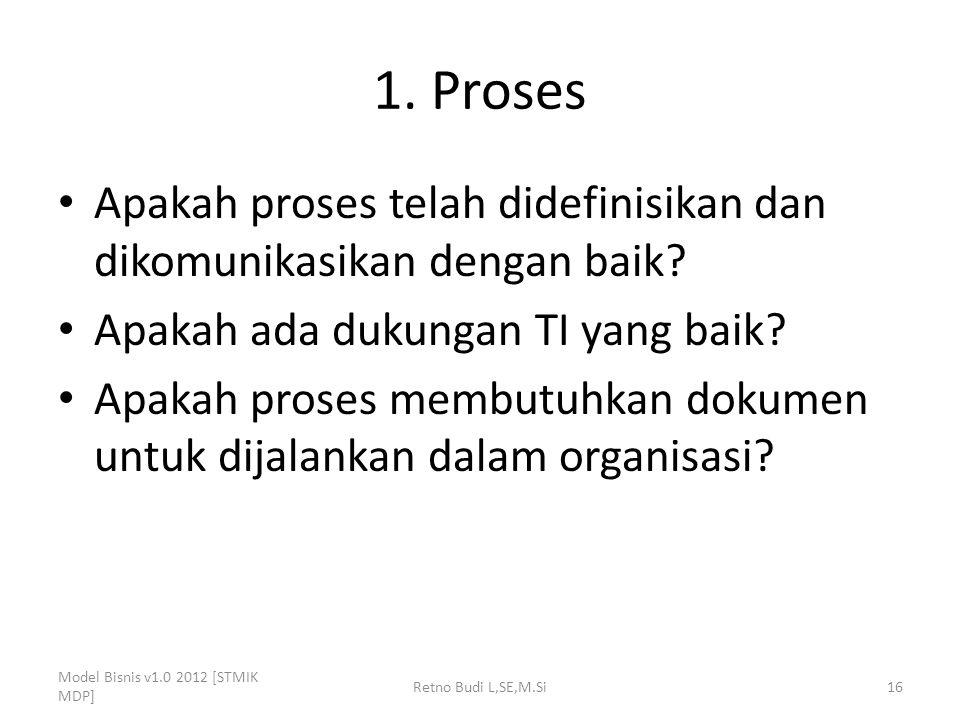 1. Proses Apakah proses telah didefinisikan dan dikomunikasikan dengan baik Apakah ada dukungan TI yang baik