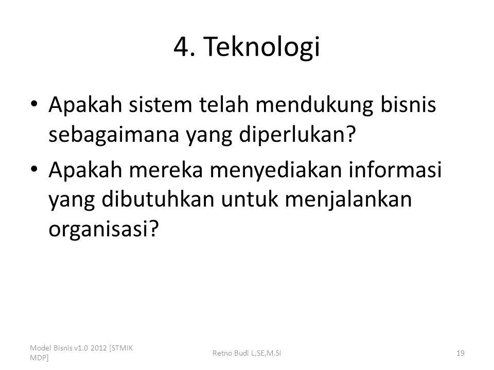 4. Teknologi Apakah sistem telah mendukung bisnis sebagaimana yang diperlukan