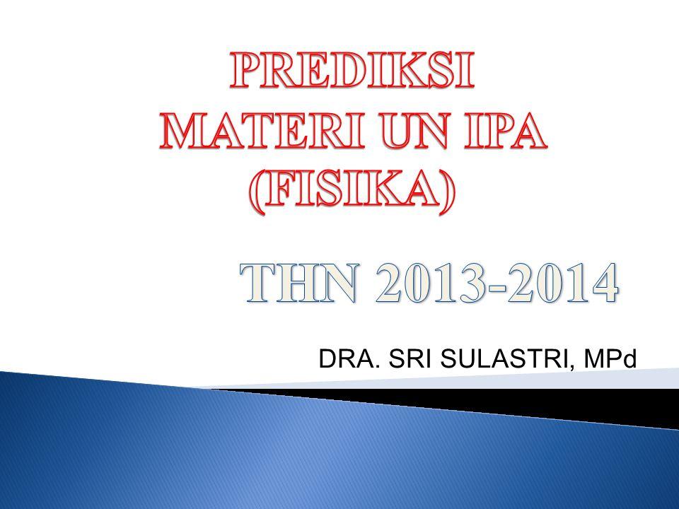 PREDIKSI MATERI UN IPA (FISIKA) THN 2013-2014 DRA. SRI SULASTRI, MPd