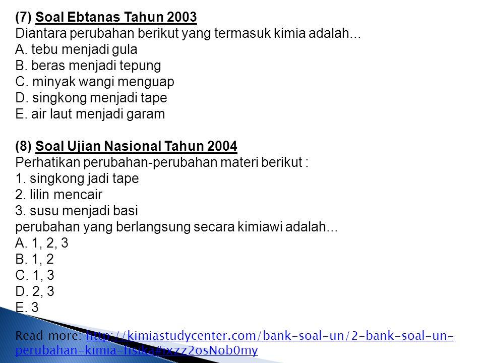 (7) Soal Ebtanas Tahun 2003 Diantara perubahan berikut yang termasuk kimia adalah...