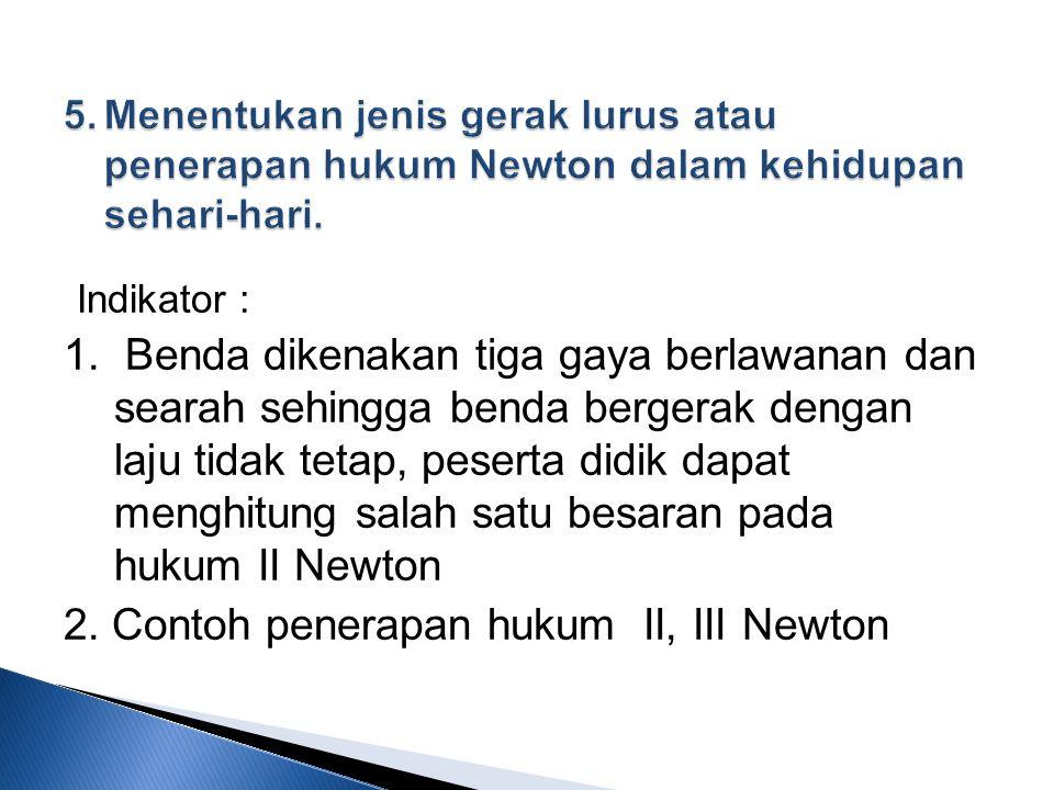 2. Contoh penerapan hukum II, III Newton