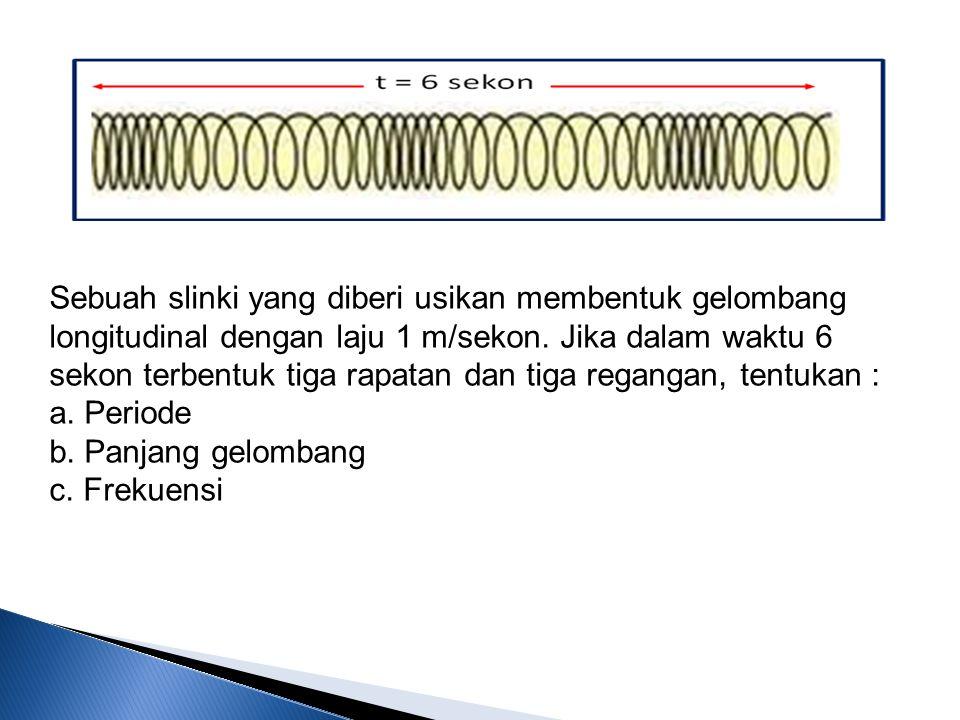 Sebuah slinki yang diberi usikan membentuk gelombang longitudinal dengan laju 1 m/sekon. Jika dalam waktu 6 sekon terbentuk tiga rapatan dan tiga regangan, tentukan :