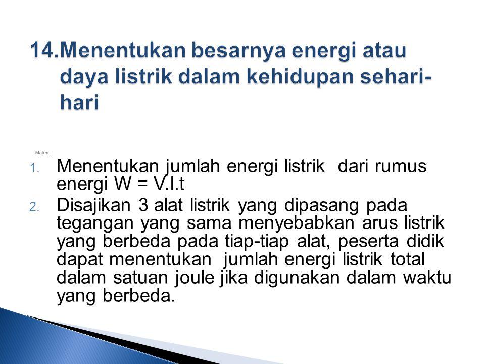 14. Menentukan besarnya energi atau daya listrik dalam kehidupan sehari-hari