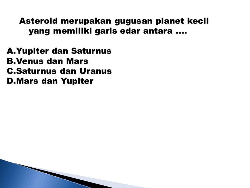 Asteroid merupakan gugusan planet kecil yang memiliki garis edar antara ....