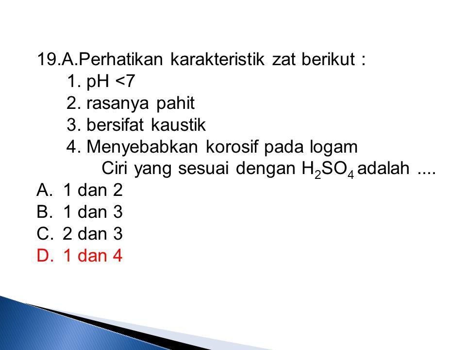 19.A.Perhatikan karakteristik zat berikut :